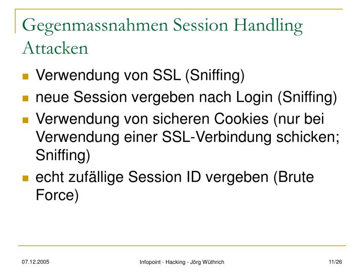 Gegenmassnahmen Session Handling Attacken
