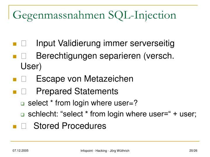 Gegenmassnahmen SQL-Injection