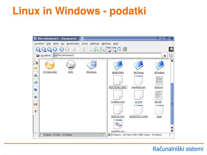 Linux in Windows - podatki