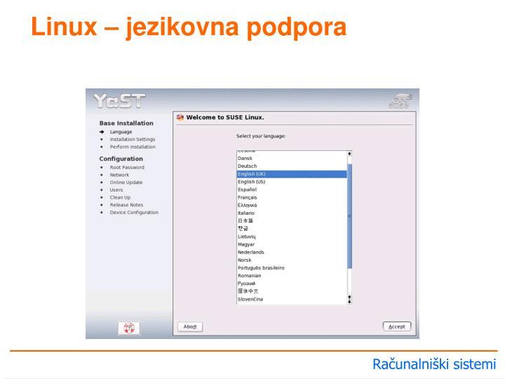 Linux – jezikovna podpora