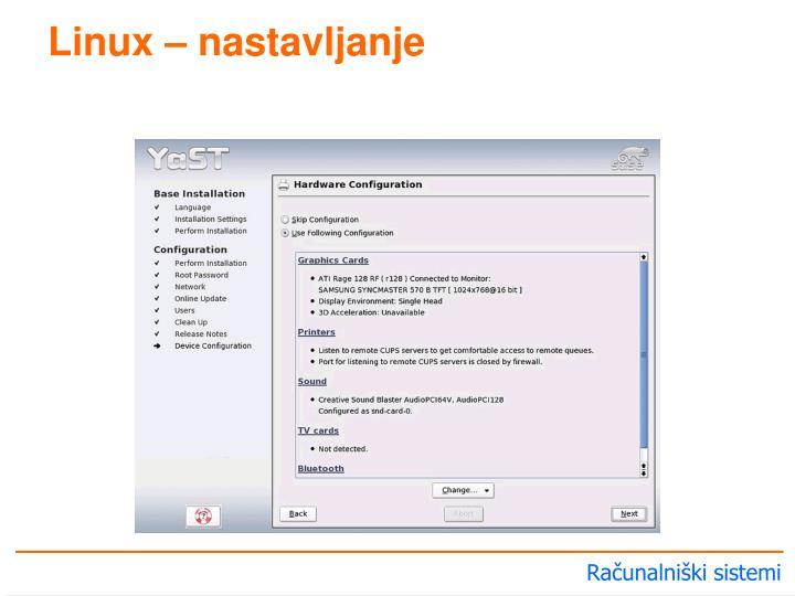 Linux – nastavljanje