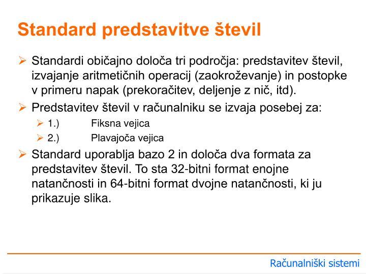 Standardi običajno določa tri področja: predstavitev števil, izvajanje aritmetičnih operacij (zaokroževanje) in postopke v primeru napak (prekoračitev, deljenje z nič, itd).