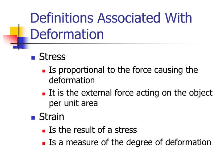 Definitions Associated With Deformation