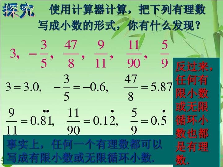 使用计算器计算,把下列有理数写成小数的形式,你有什么发现?