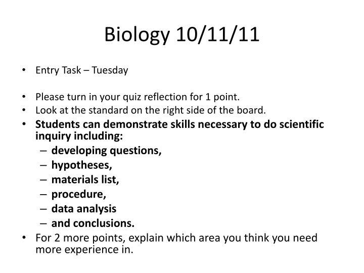 Biology 10/11/11