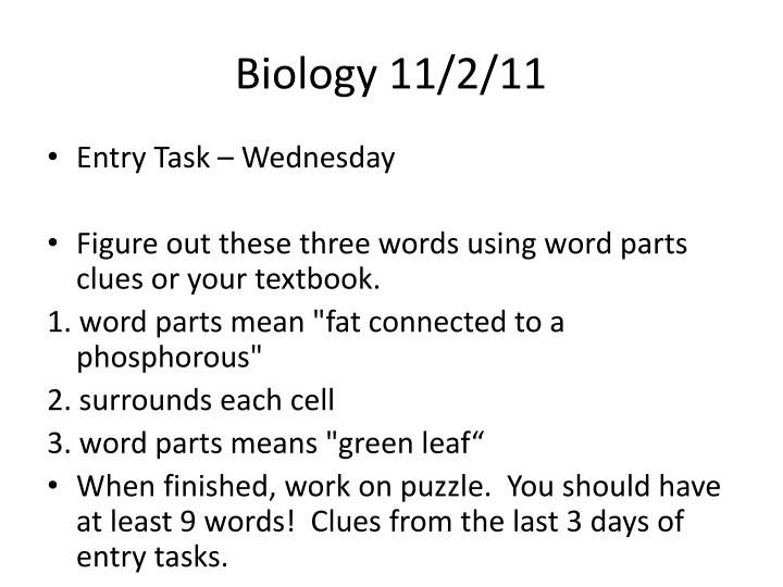 Biology 11/2/11