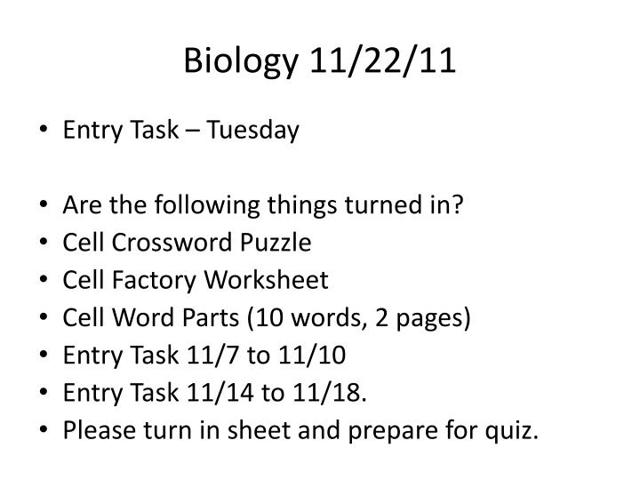 Biology 11/22/11