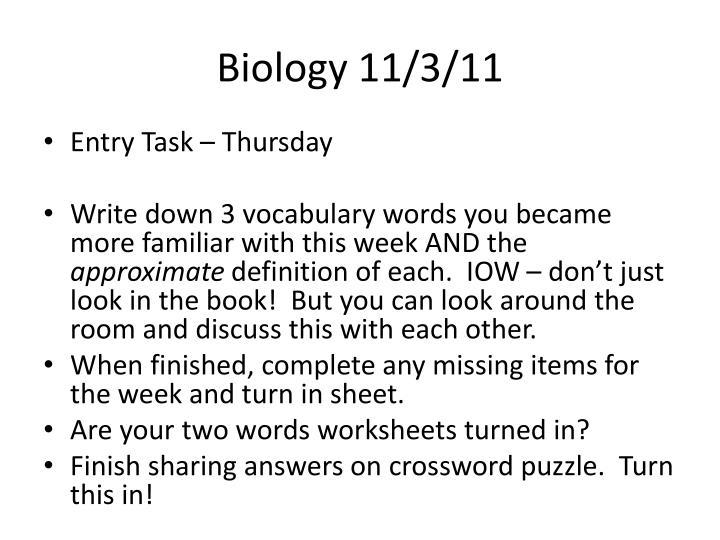 Biology 11/3/11