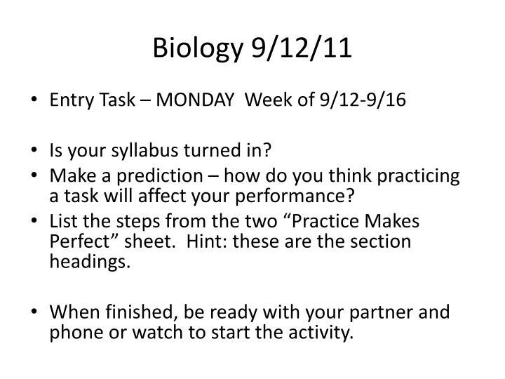 Biology 9/12/11