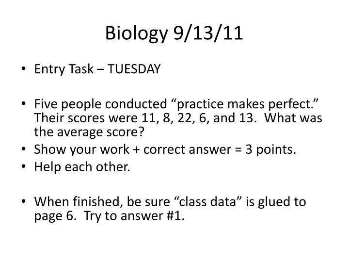 Biology 9/13/11