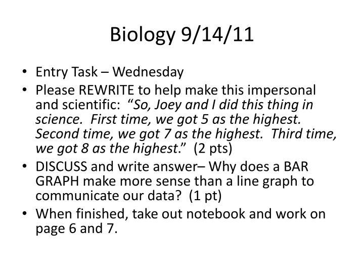 Biology 9/14/11