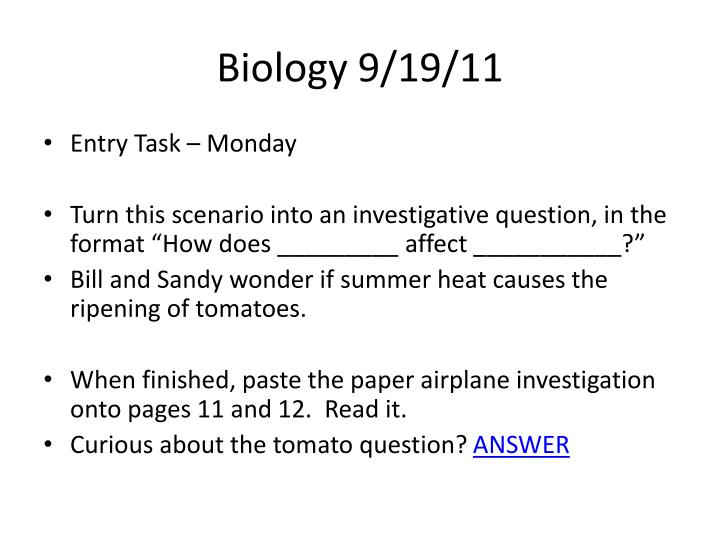 Biology 9/19/11