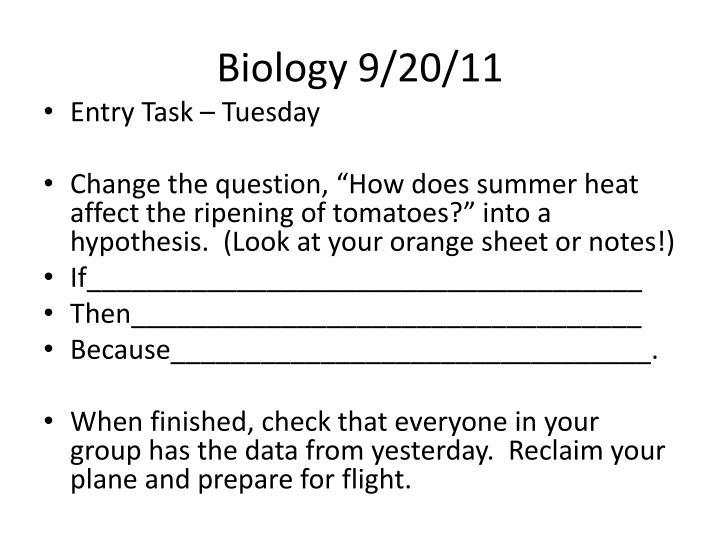 Biology 9/20/11