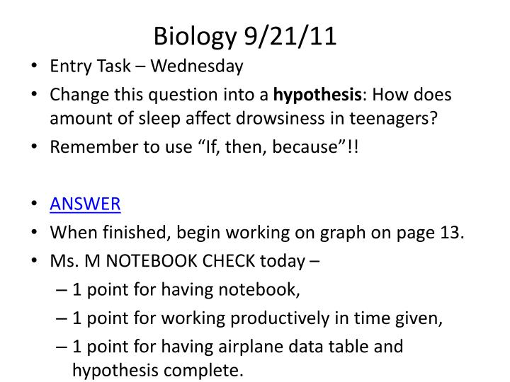 Biology 9/21/11