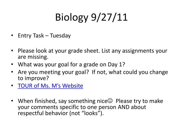 Biology 9/27/11