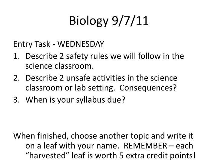 Biology 9/7/11