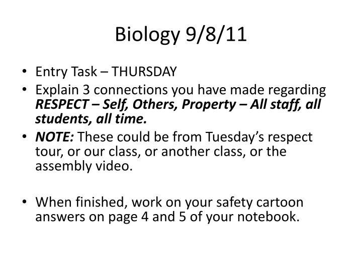 Biology 9/8/11