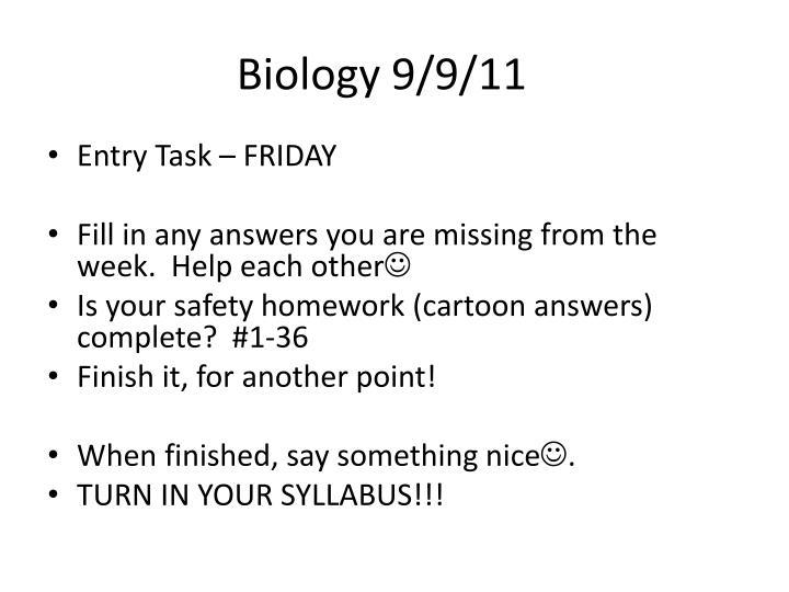 Biology 9/9/11