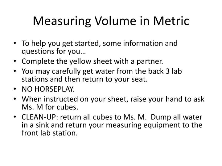 Measuring Volume in Metric