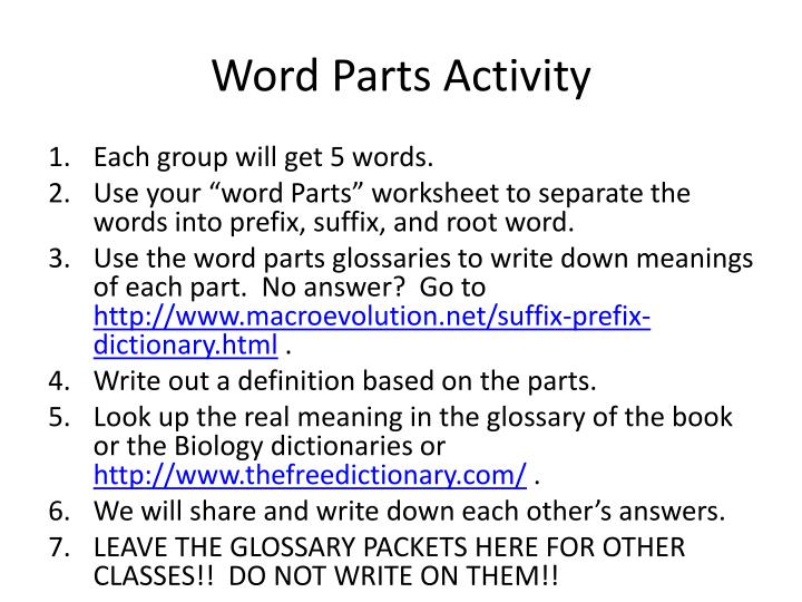 Word Parts Activity