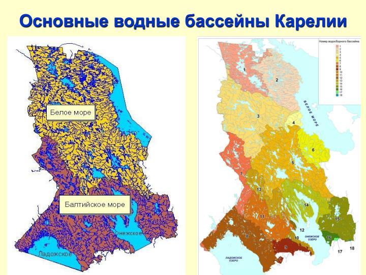 Основные водные бассейны Карелии