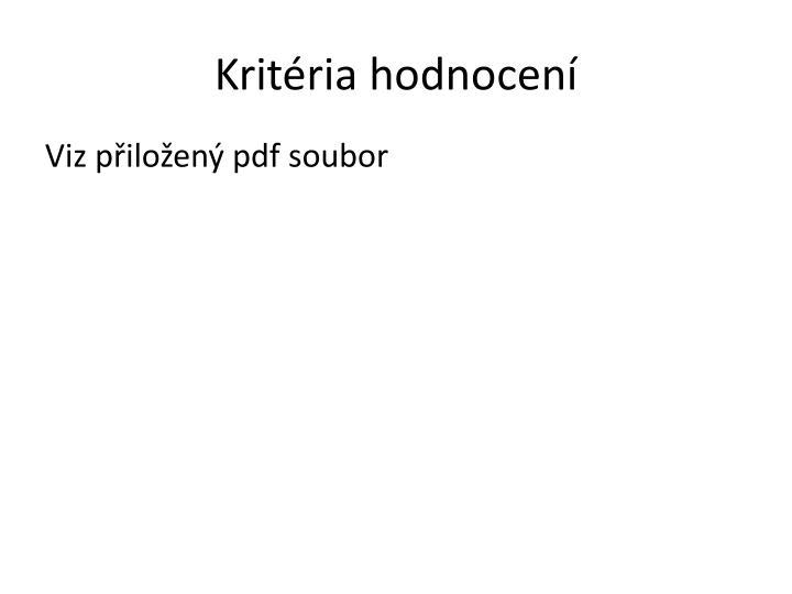 Kritéria hodnocení