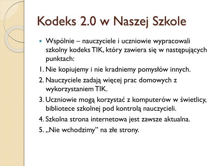 Kodeks 2.0 w Naszej Szkole