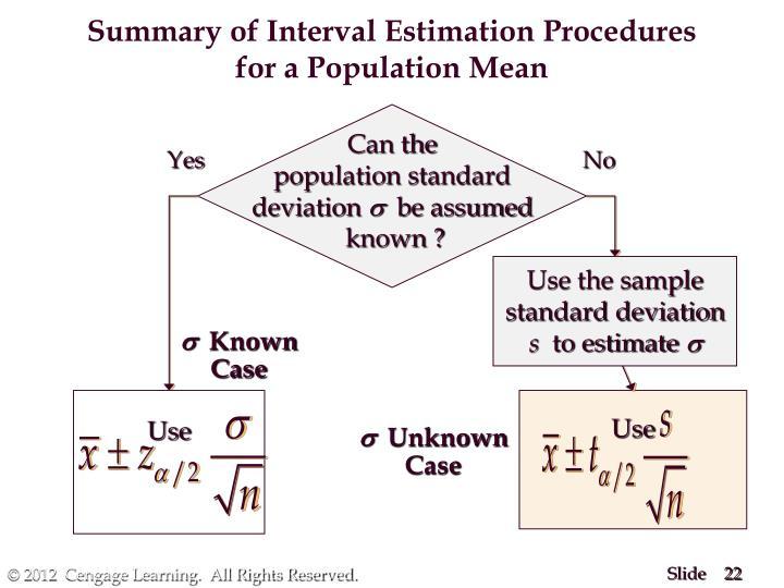 Summary of Interval Estimation Procedures