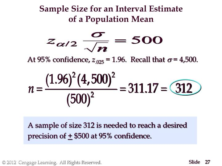 Sample Size for an Interval Estimate