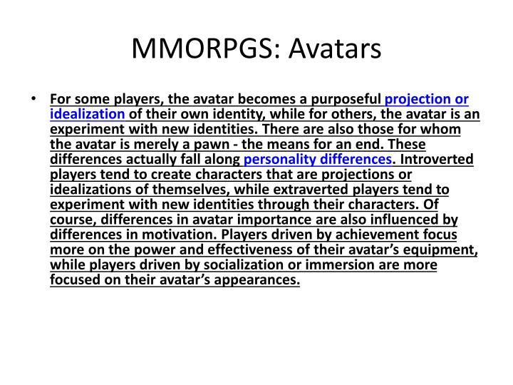 MMORPGS: Avatars