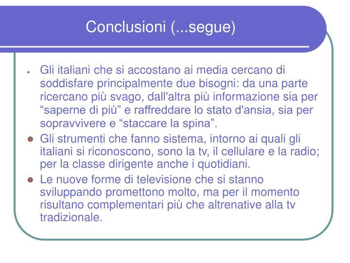 Conclusioni (...segue)