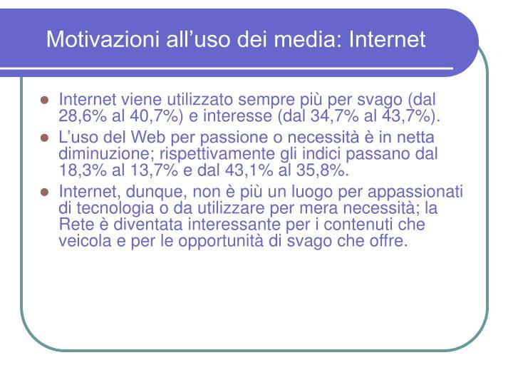Motivazioni all'uso dei media: Internet