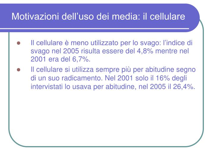 Motivazioni dell'uso dei media: il cellulare