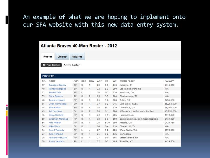 An example of what we are hoping to implement onto our SFA website with this new data entry system.