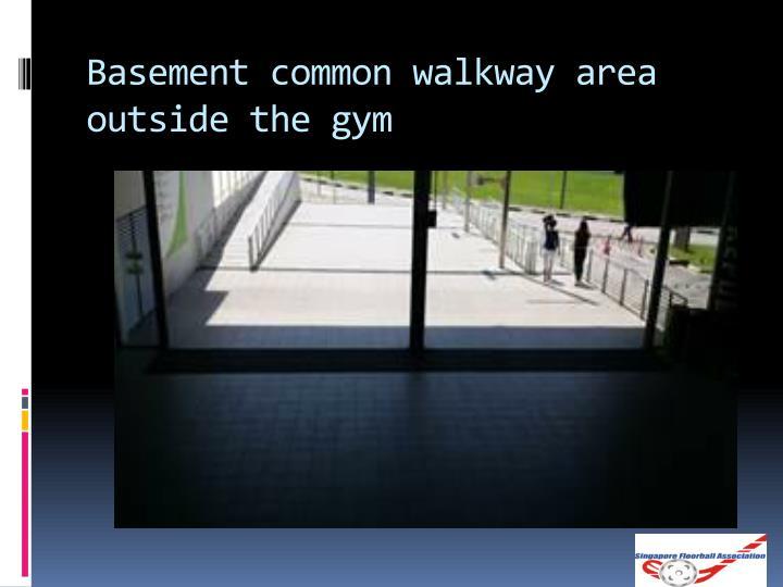 Basement common walkway area outside the