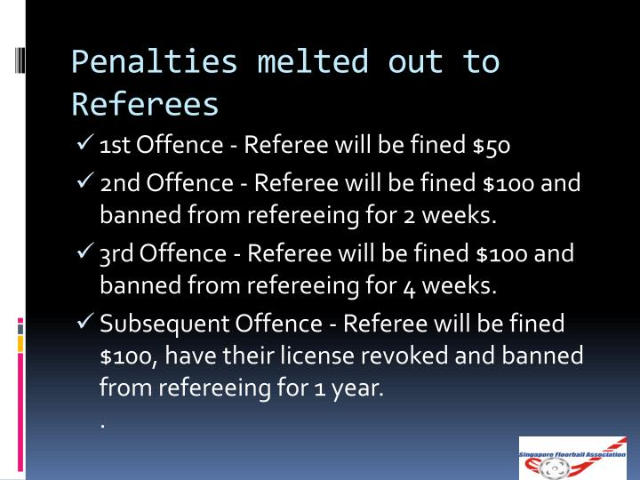 Penalties melted out to Referees