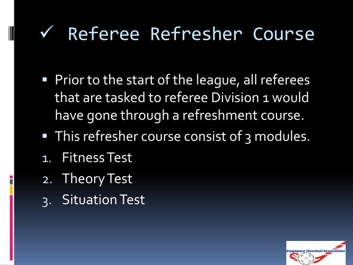 Referee Refresher Course