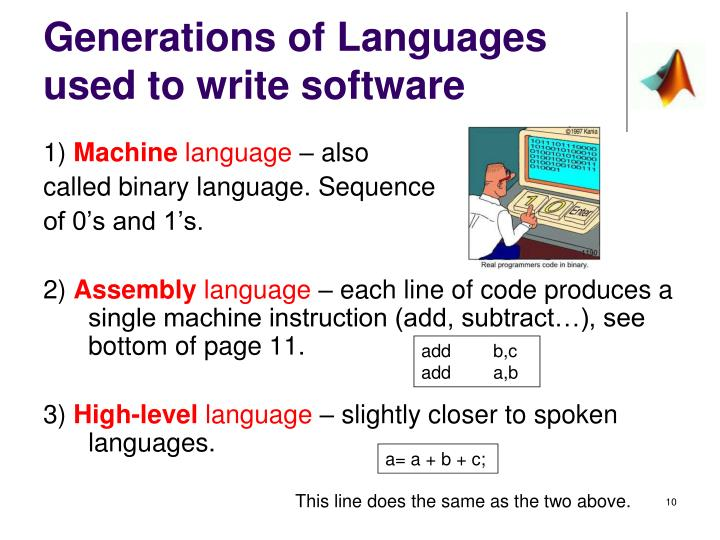 Generations of Languages used to write software