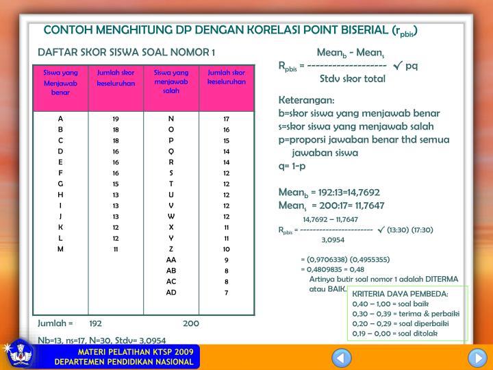 CONTOH MENGHITUNG DP DENGAN KORELASI POINT BISERIAL (r