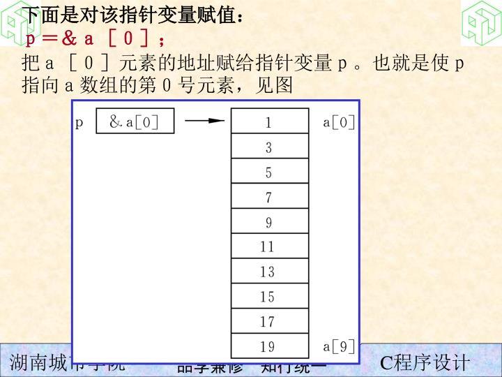 下面是对该指针变量赋值: