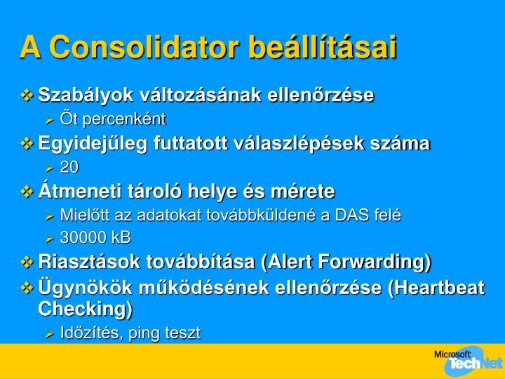 A Consolidator beállításai