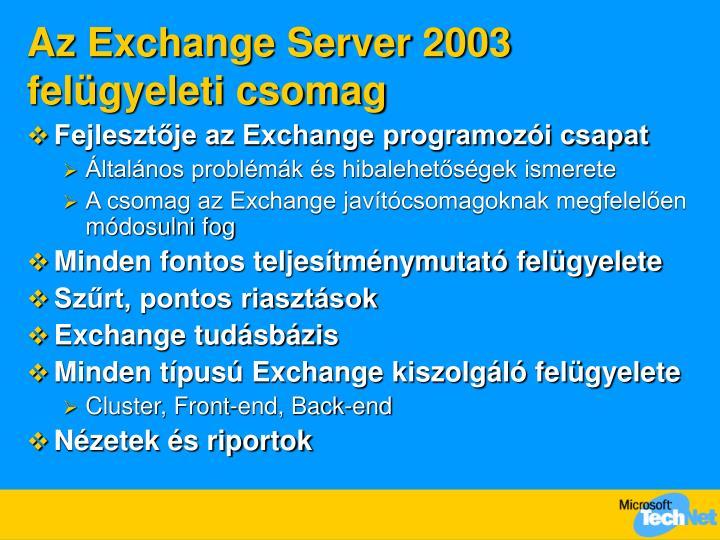 Az Exchange Server 2003 felügyeleti csomag