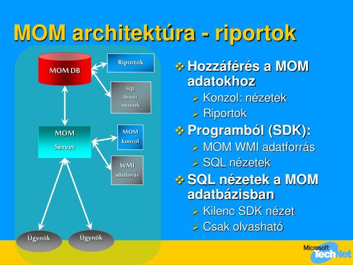 MOM architektúra - riportok