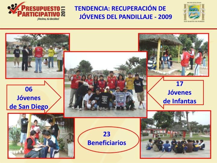 TENDENCIA: RECUPERACIÓN DE JÓVENES DEL PANDILLAJE - 2009