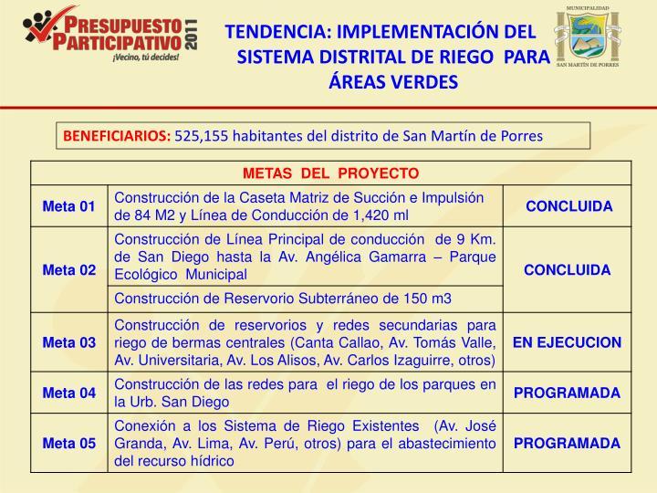 TENDENCIA: IMPLEMENTACIÓN DEL SISTEMA DISTRITAL DE RIEGO  PARA  ÁREAS VERDES