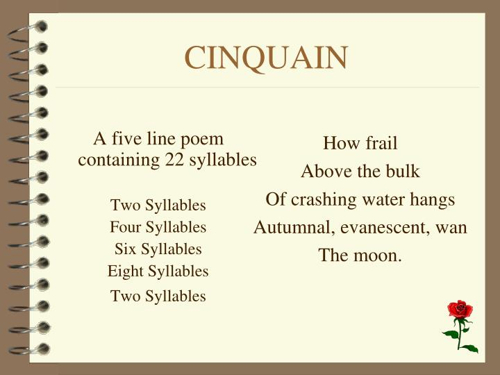 A five line poem containing 22 syllables