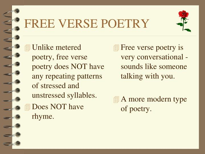 Unlike metered poetry, free verse poetry does NOT have any repeating patterns of stressed and unstressed syllables.