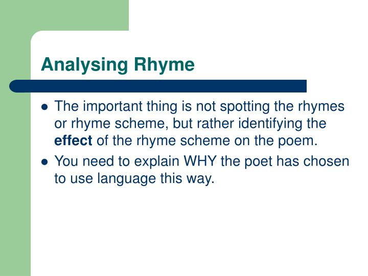 Analysing Rhyme