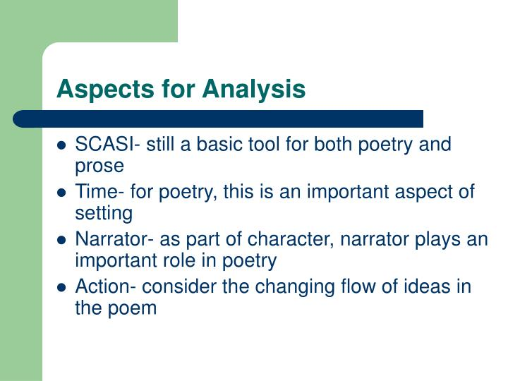 Aspects for analysis