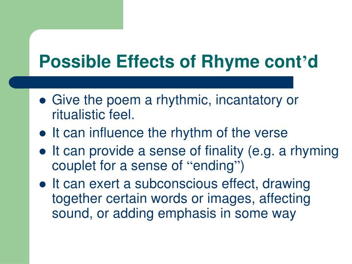 Possible Effects of Rhyme cont